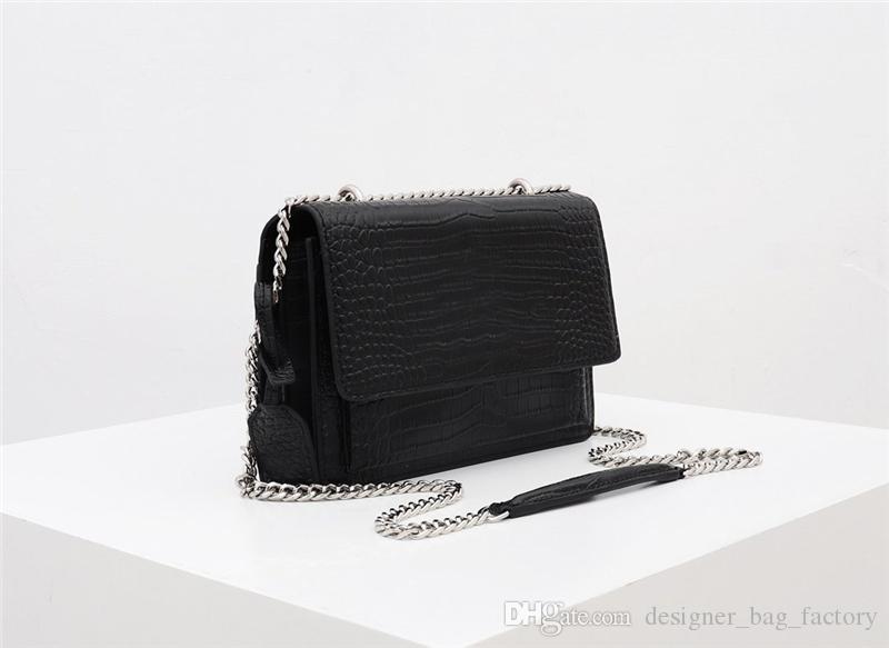 mujeres crossbody diseñador de bolsos de hombro patrón de cocodrilo la venta caliente de la manera del bolso de la cadena L Y sint bolsos de lujo de cuero genuino bolsos de marca