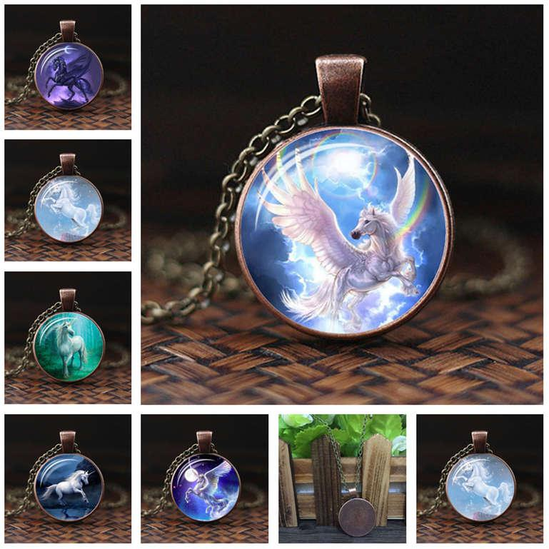 Производители недорогих единорог время заказа драгоценного камня стекла кулона ожерелье DAN558 смеси кулон ожерелье