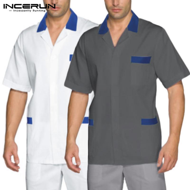 2020 Uomini Uniform manica corta risvolto camice Solid Uomo casuale rigonfio Patchwork camicia respirabile di estate allentati Work Clothes Formato più