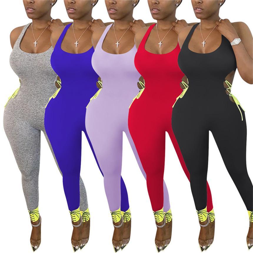 Frauen Normallackoverallbaumwollbügel Strampelhöschen Ärmel aushöhlen Body Art und Weise Clubwear Sommerkleidung dünn einteilige Hosen 3189