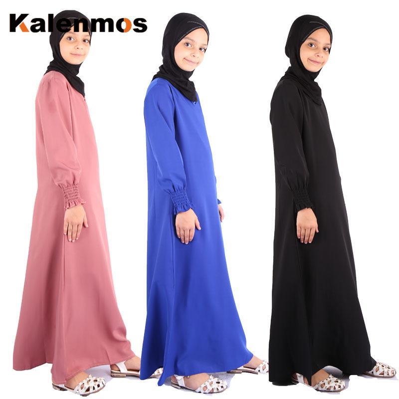 KALENMOS Ид Рамадан мусульманские девушки одеваются Кафтан Дубай Кафтан Дети Исламская одежда Ид Черный Абая Турция Хиджаб Платья для девочек