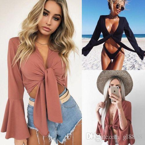Sonbahar Kadın Gömlek Moda Kelebek Kol Dantel Yukarı Bandaj Seksi Kısa Gömlek Bayanlar Casual Bantlı Katı Renk Sıcak Tops