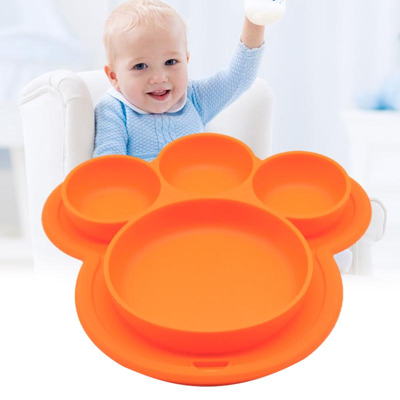 Baby-Silikon-Platte BPA frei Cartoon Bear Paw Form Kinder Abendessen Geschirr Absaug- Trainings Geschirr Kinder Futterschalen NDS66