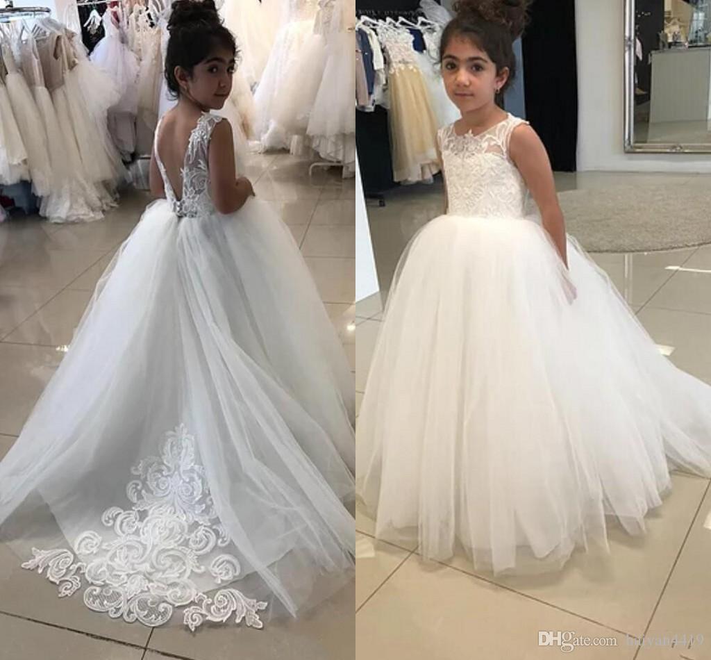 결혼식 레이스 아플리케 민소매 스윕 기차 여자 선발 대회 드레스 댄스 파티 어린이 성찬식 드레스 2020 새로운 저렴한 귀여운 꽃의 소녀 드레스