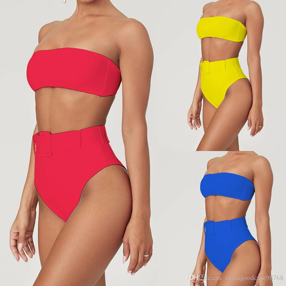 Femmes Ensemble bikini couleur unie amovible Pad Soutien-gorge Wrap poitrine Tops Ceinture Cheeky Bas 2Pcs taille haute Ensemble bikini maillot de bain mode