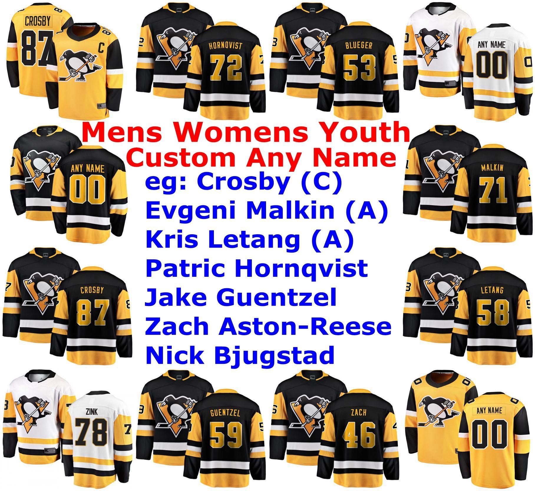 Pittsburgh Penguins Maillots Femmes Sidney Crosby Jersey Jake Guentzel Patric Hornqvist Letang Evgeni Malkin Hockey Maillots personnalisé Cousu