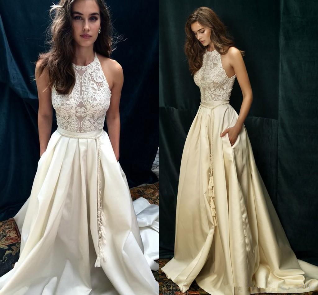 2020 Yeni Şık Bir Çizgi Gelinlik Yüksek Boyun Dantel Leke Kat Uzunluk Gelinlik Elbiseler De mariée Pocket Ucuz Custom Made