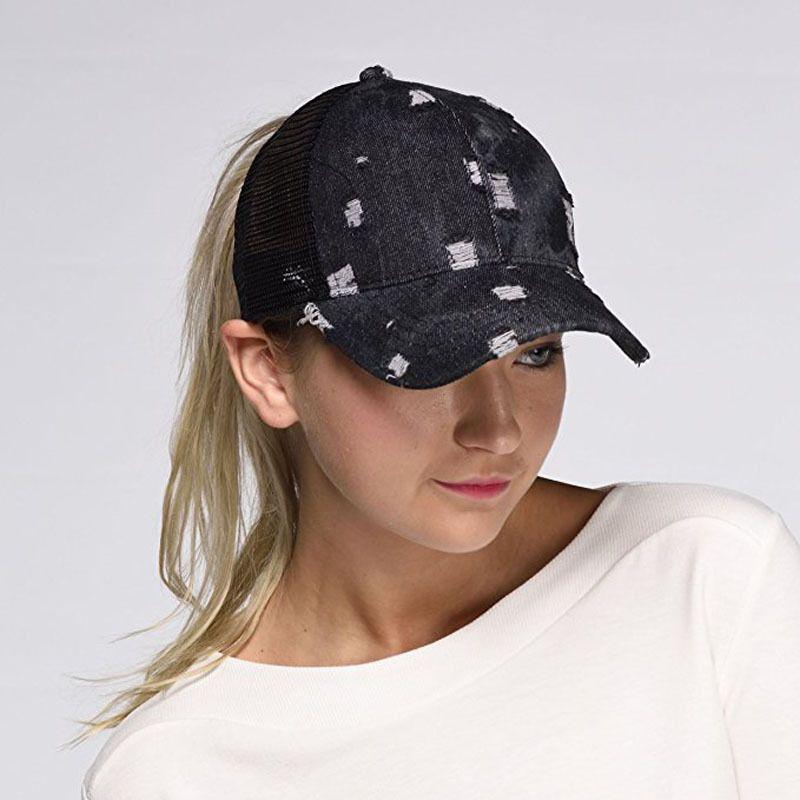 Mode Ponytail Baseball Caps Femmes Denim balle Caps fille Sport Camping Chapeau Lady Voyage Brach Sun Hat LT-TTA1210
