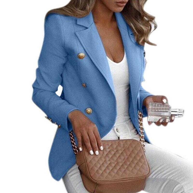 Femmes Col Blazer Veste de costume mince femme d'affaires Manteau officiel Taille Plus 5XL FS99