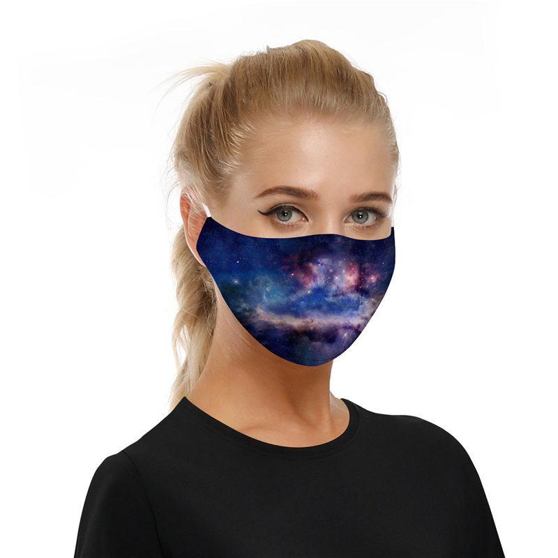 Neue Art-Stern-Digitaldruck Mask Party im Freien Anti-Smog PM2.5 Masken atmungsaktiv staub- werden können earmuffs + 2ST Filter vor Ort gereinigt