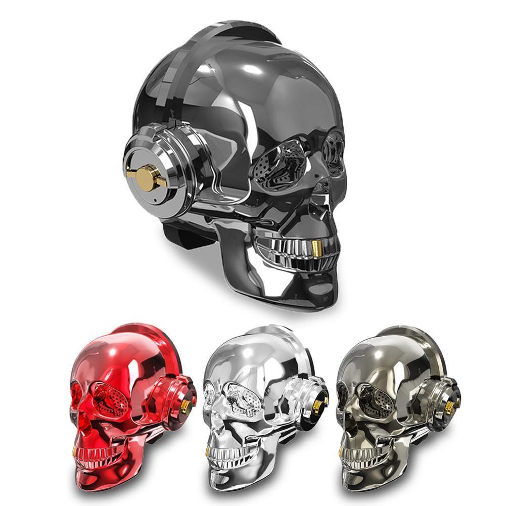 Skull Head LED Lighting Speaker Wireless Bluetooth 4.2 Bass Stereo Music Player 1000mAh Battery for Halloween Unique Christmas Gift Design