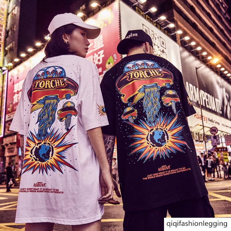 Fumetto di modo hip-hop degli uomini a maniche corte di grandi dimensioni più grasso persone speciali vestiti paio di vestiti estivi grasso mezza manica nazionale