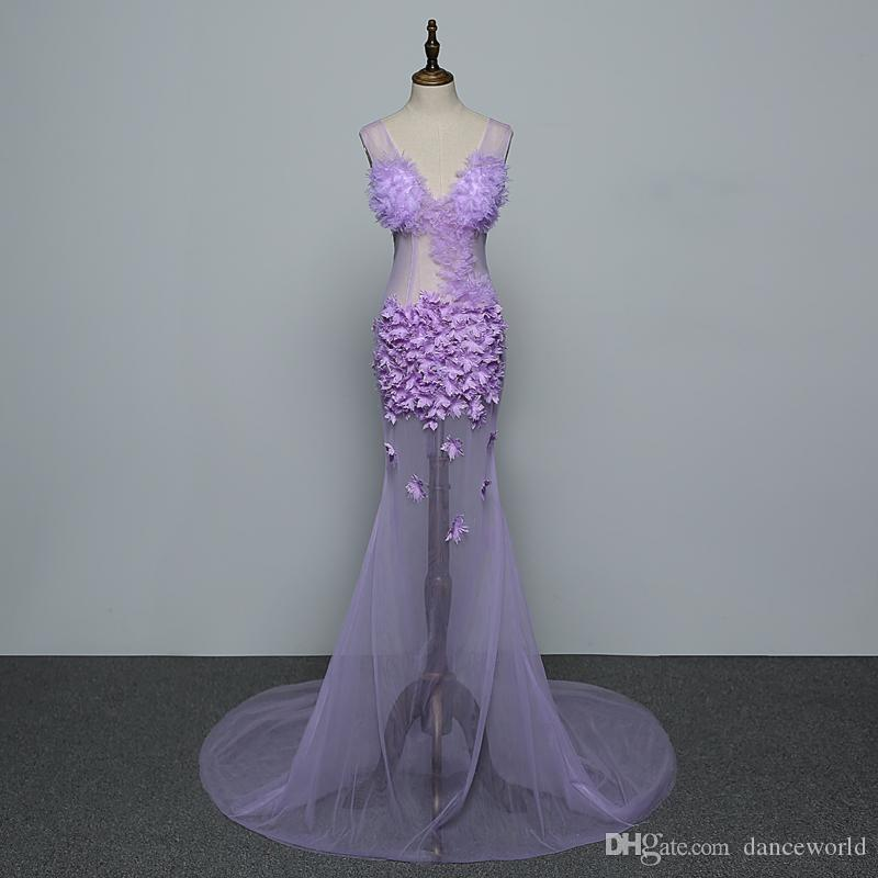Flores púrpuras Malla sin mangas Ver a través de vestido largo Cumpleaños de la mujer Barra de baile Ropa de baile Discoteca Mujeres Cantante Vestido de baile Vestido