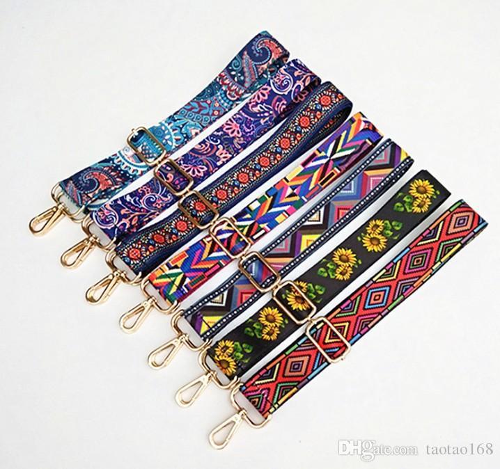 Nylon correa de colores bolsas de la correa de accesorios para la mujer del arco iris ajustable para el hombro suspensión del bolso correas decorativo Mango 125cm ornamento