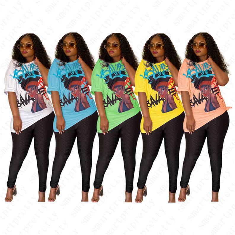 2020 Frauen Druck entwirft T-Shirt Kurzarm schiefe Schulter Kragen Sexy Bluse Pullover Top Shirt Mädchen-Sommer-beiläufige lange Tees D52513