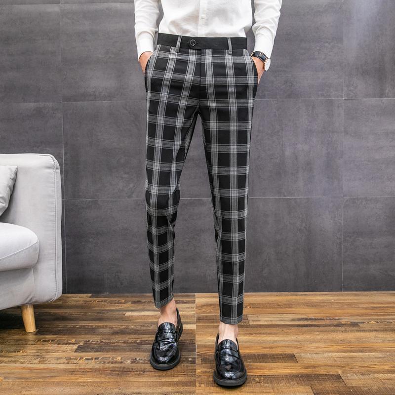Compre Pantalones De Estilo Britanico De Tela Escocesa Delgadas Ajuste Vestido 2019 Verano El Registro Pantalones Para Hombre Hombres Formal De La Manera Pantalon De Hombre De Vestir A 51 04 Del