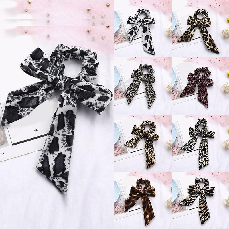 Women Leopard Knotted Velvet Hair Ties Scrunchies Hair Bands Ribbon Hairbands Ponytail Scarf Sweet Elegant Elastic Hair Rope