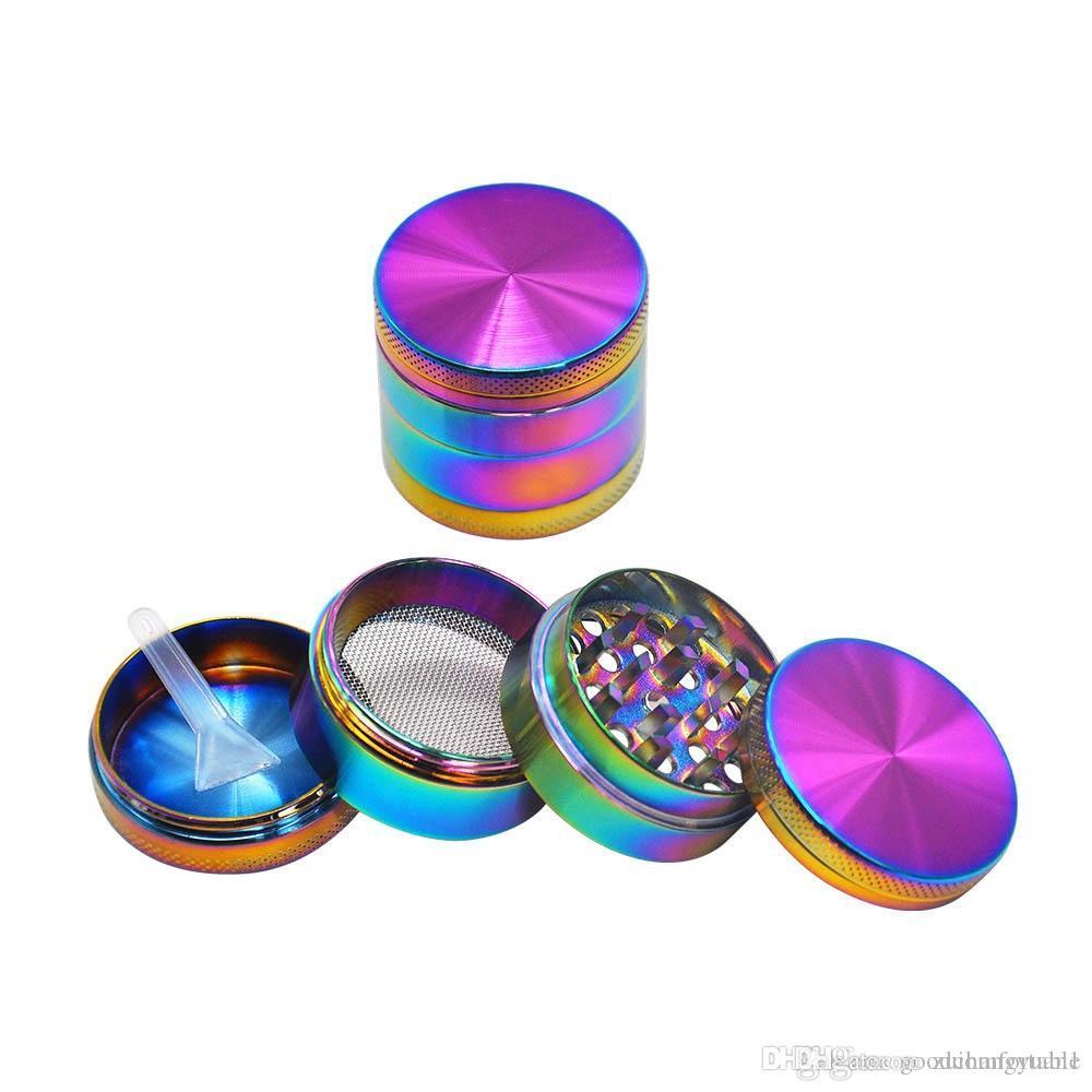 Kreative bewegliche Flach 40mm Grinder Qualitäts-Grinder Metall Zink-Legierung Tabakkräutermühlen 4 Schichten Farben Regenbogen