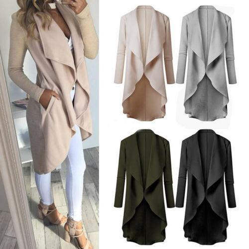 New Fashion Women Trench Knitted Long Sleeve Outwear Winter Autumn Lady Casual Cardigan Knitwear Jumper Trench Coat