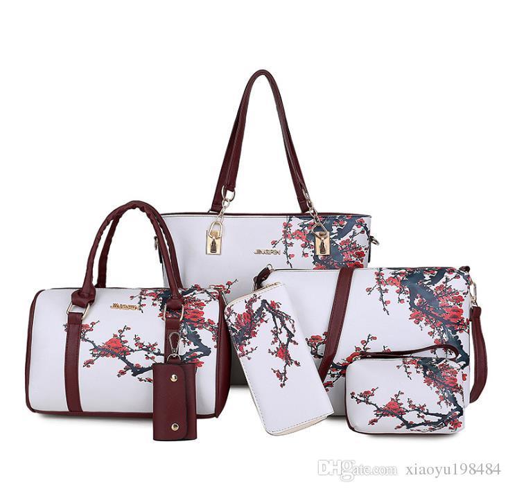 Europa und die Vereinigten Staaten Explosion Modelle neue Art und Weise PU-Blumen-Damen-Mutter-in-law-Beutel-beiläufige Sechsteilige Weibliche Handtasche Diagonal Tasche