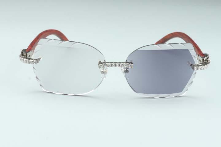 Nova lente de mudança de cor esculpida 8300817-C10 Mão natural de luxo esculpida templo de madeira diamante quadro de óculos 58-18-140mm um espelho Dual final