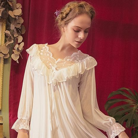 Tül Dantel Ruffles Lolita Kadınlar Robe Elbise Seksi Uzun Kollu Pijama V-Yaka Bornoz Pijama 2020 Yeni Balo Gelinlik Ev Giyim Şal