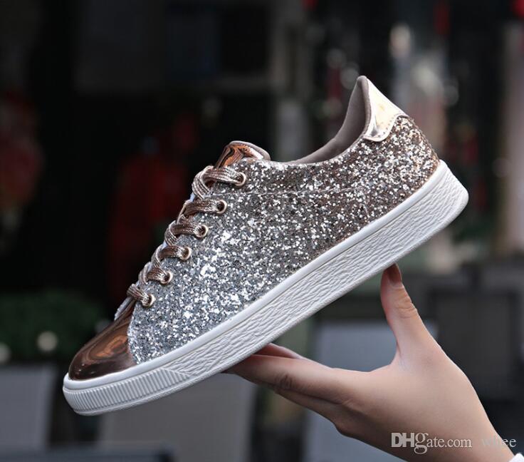 2020 Calles tendencia Trendsetter del brillo de las lentejuelas de plata de encaje hasta la Ronda del dedo del pie bling el plano de los zapatos ocasionales de las señoras de las zapatillas de deporte zapatos creepers