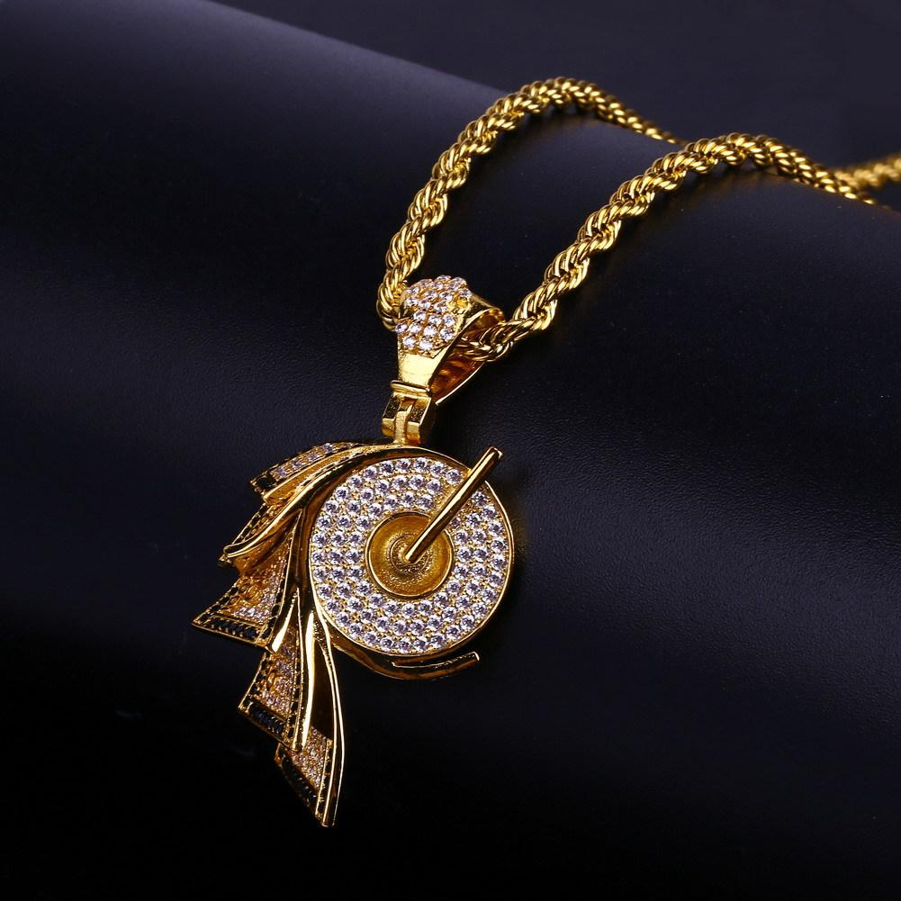 New Fashion Personalized 18K Gold Plated Mens Hip Hop Roll Shape Pendant Necklace Chain Iced Out CZ Zirconia Jewelry Gifts for Men and Women