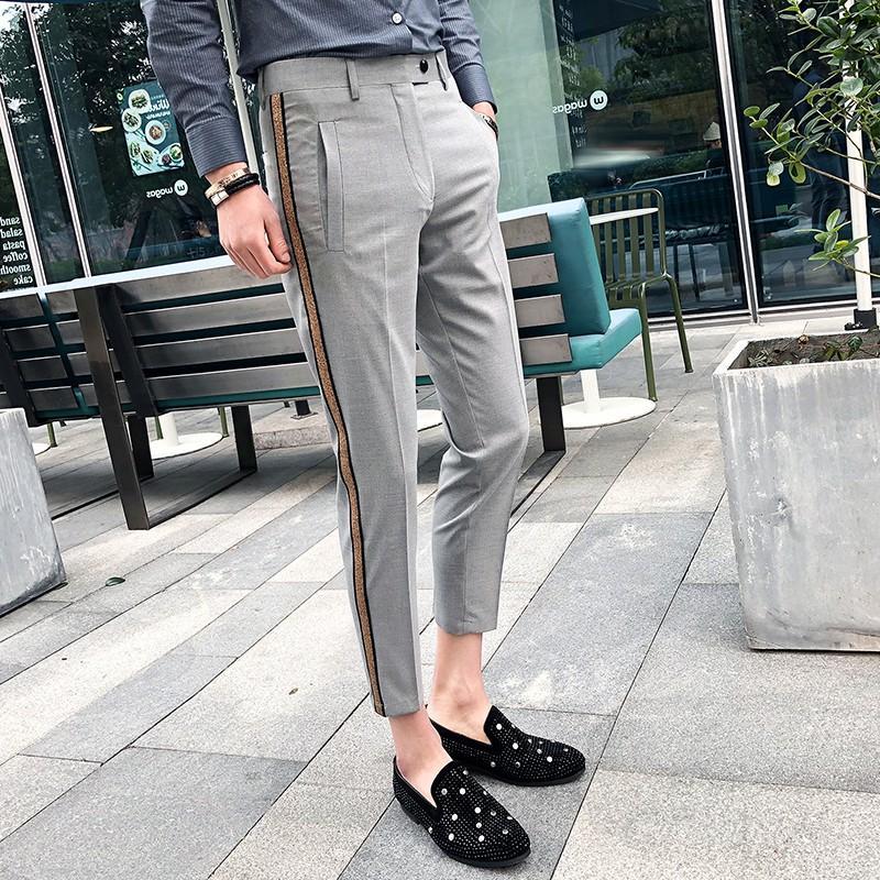 Listrado Pant Pantalon Homme 2020 Verão Men Fashion Business Slim Fit Pants Men Pants Casual Escritório Slim Fit calças social