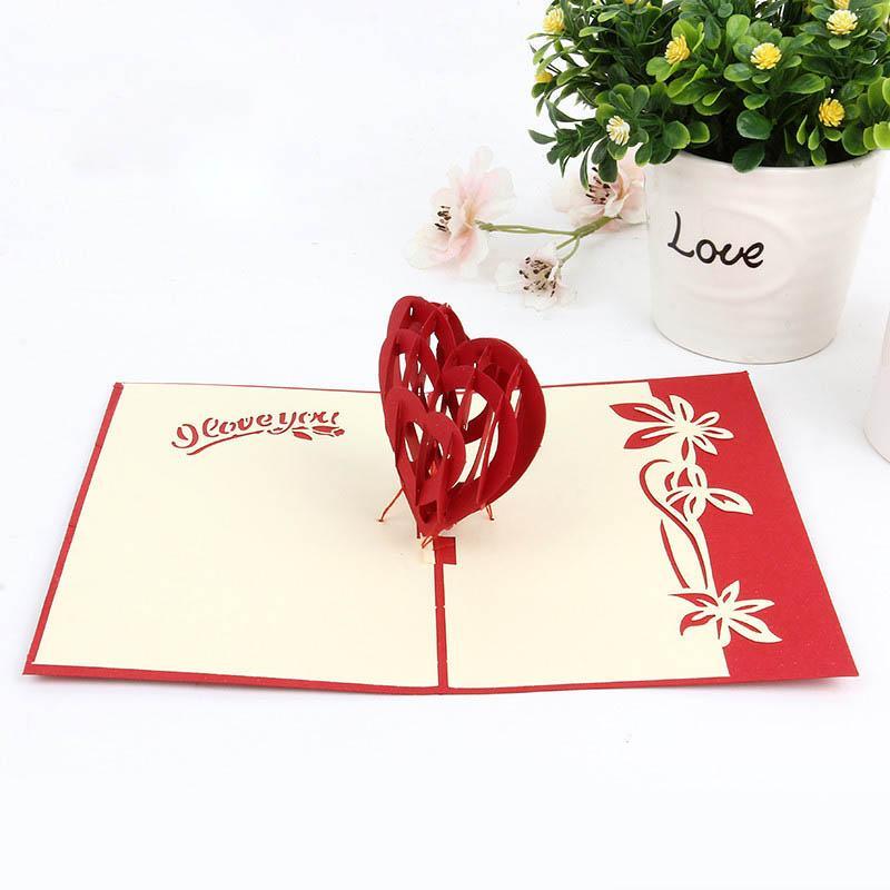 Di modo 3D Pop Up pieghevole Greeting Cards forma creativa di cuore a mano Libro Cuts Valentines insegnanti Grazie vi mamma XD23105