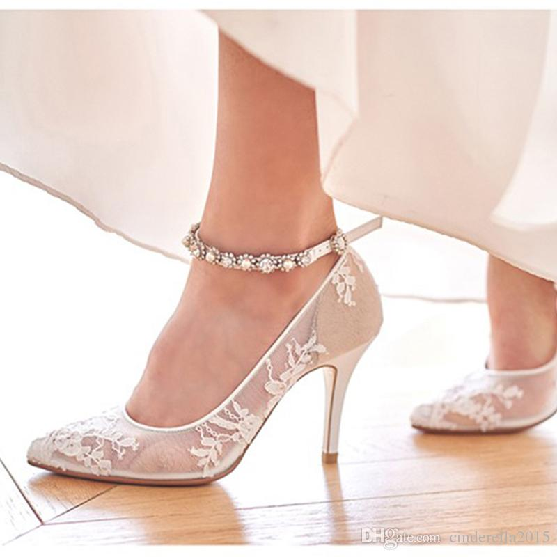 2019 Spring High Heel Shoes Elegant Sexy Bride Shoes White Lace ...