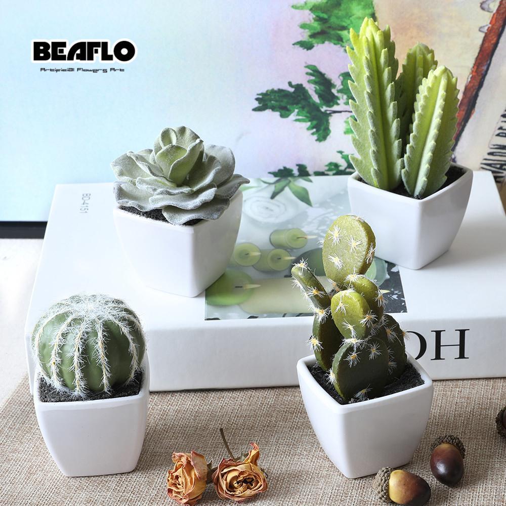1 Unidades Mini En Maceta Suculentas Cactus Bonsai Artificial Flor Falsa para la Boda Home Party Decorativo 4 colores B3105 D19011101