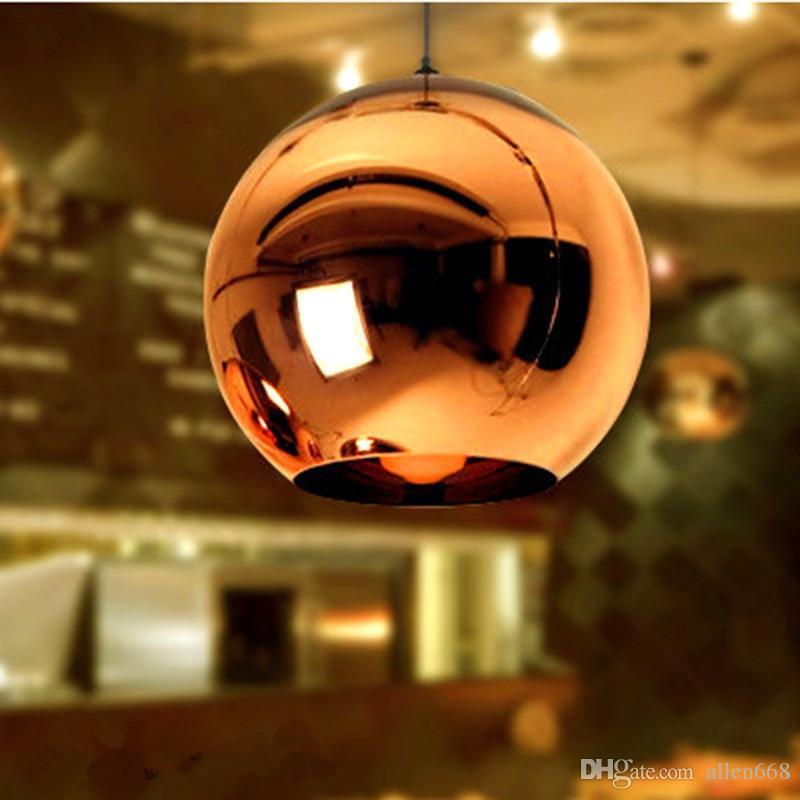 lámpara de cobre espejo de la lámpara pendiente de la bola de la lámpara globo de cristal colgante de luz que cuelga del accesorio ligero brillo luminaria lamparas de iluminación