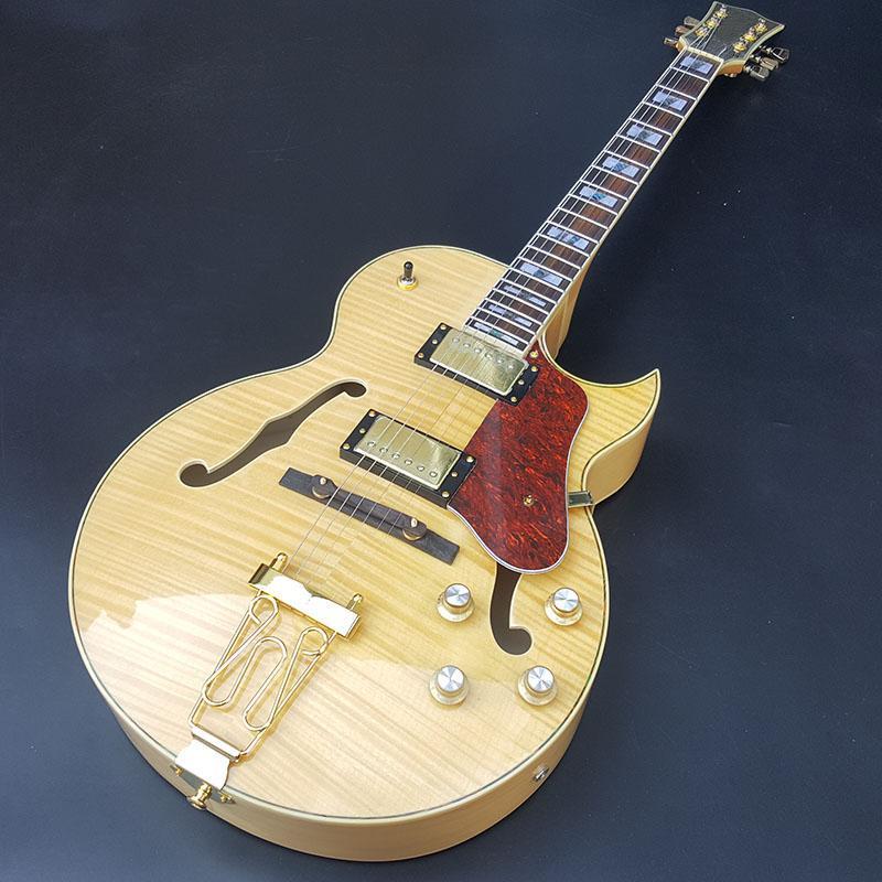noticias de la guitarra eléctrica del jazz, la placa de cable fijo y oro accesorios de alta calidad, guitarra arqueada semi-hueco, cuerpo de arce, envío libre