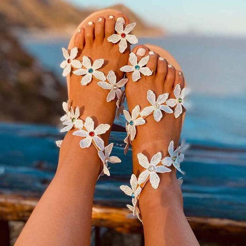 2020 estate Boemia sandali per le donne Plus Size fiore di cristallo di cristallo Pearl Flip casual Calzature retro romano Zapatos Mujer