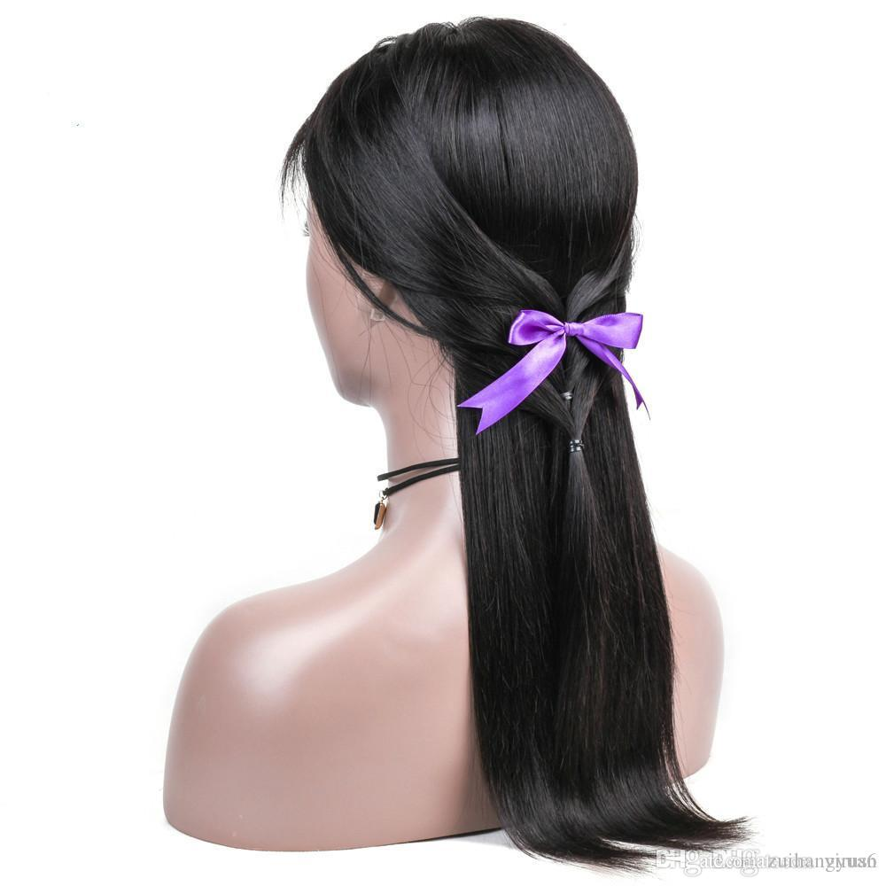 Livraison gratuite brésilienne Lace Front perruques cheveux avec la pleine extrémité droite Lace Front Wigs 4 * 13 Fermeture Remy Nœuds Blanchis