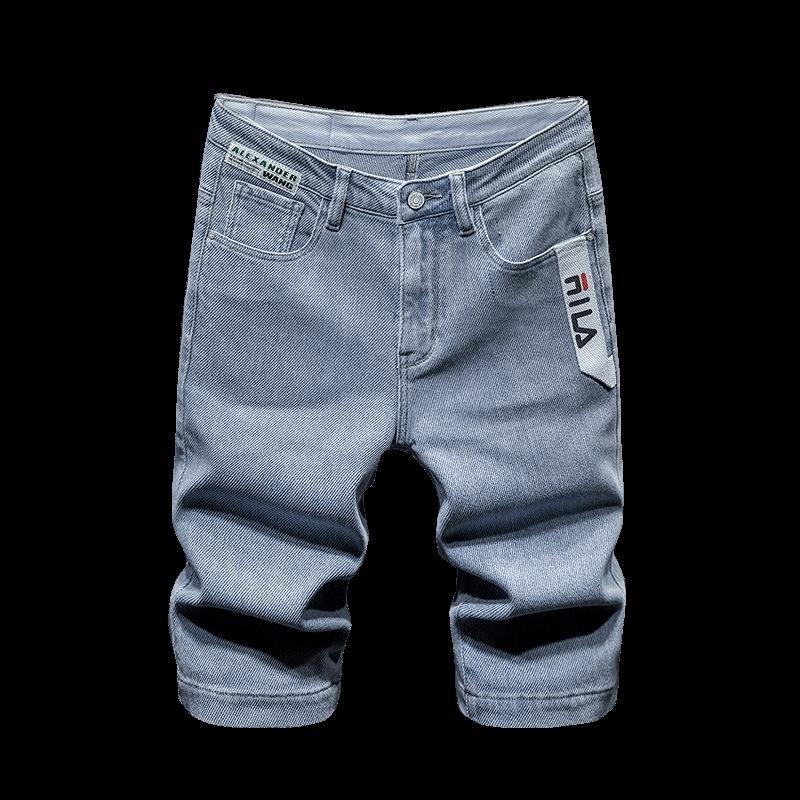 moda br cor clara cinco pontos denim e jeansShorts e jeansshorts fina calça jeans reta de comprimento médio calças de brim dos homens 4xzad homens verão