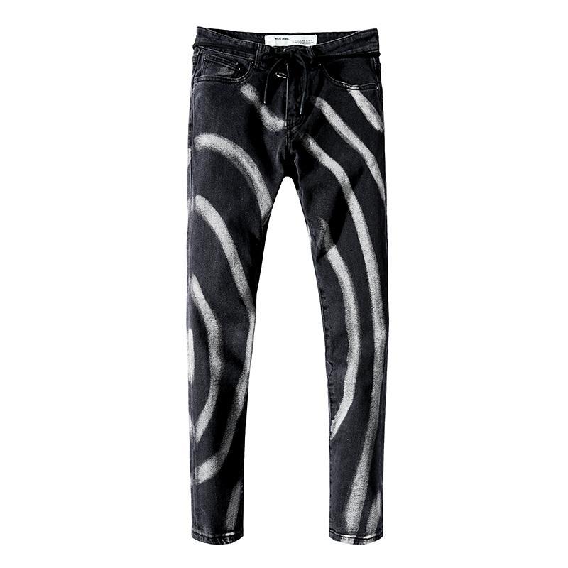 Moda de los pantalones vaqueros flacos diseñador de los hombres de los pantalones vaqueros elásticos crimen casuales los hombres pantalones vaqueros elásticos bicicleta recta adelgazan los pantalones clásicos tamaño 28-40 XX4