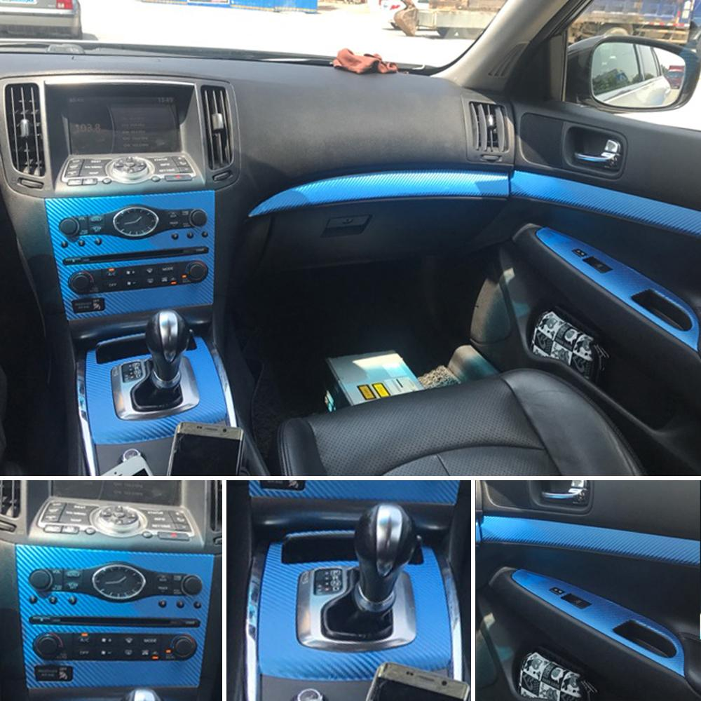 Per Infiniti G25 G35 G37 2010-2016 Interni Pannello di controllo centrale Pannello porta Pannello 5DCarbon Fibra Adesivi Decalcomanie Auto Styling Accessorie