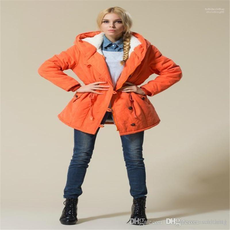 Casual color sólido ropa femenina más el tamaño de las mujeres abrigos invierno gruesa de algodón de manga larga con capucha Prendas de abrigo