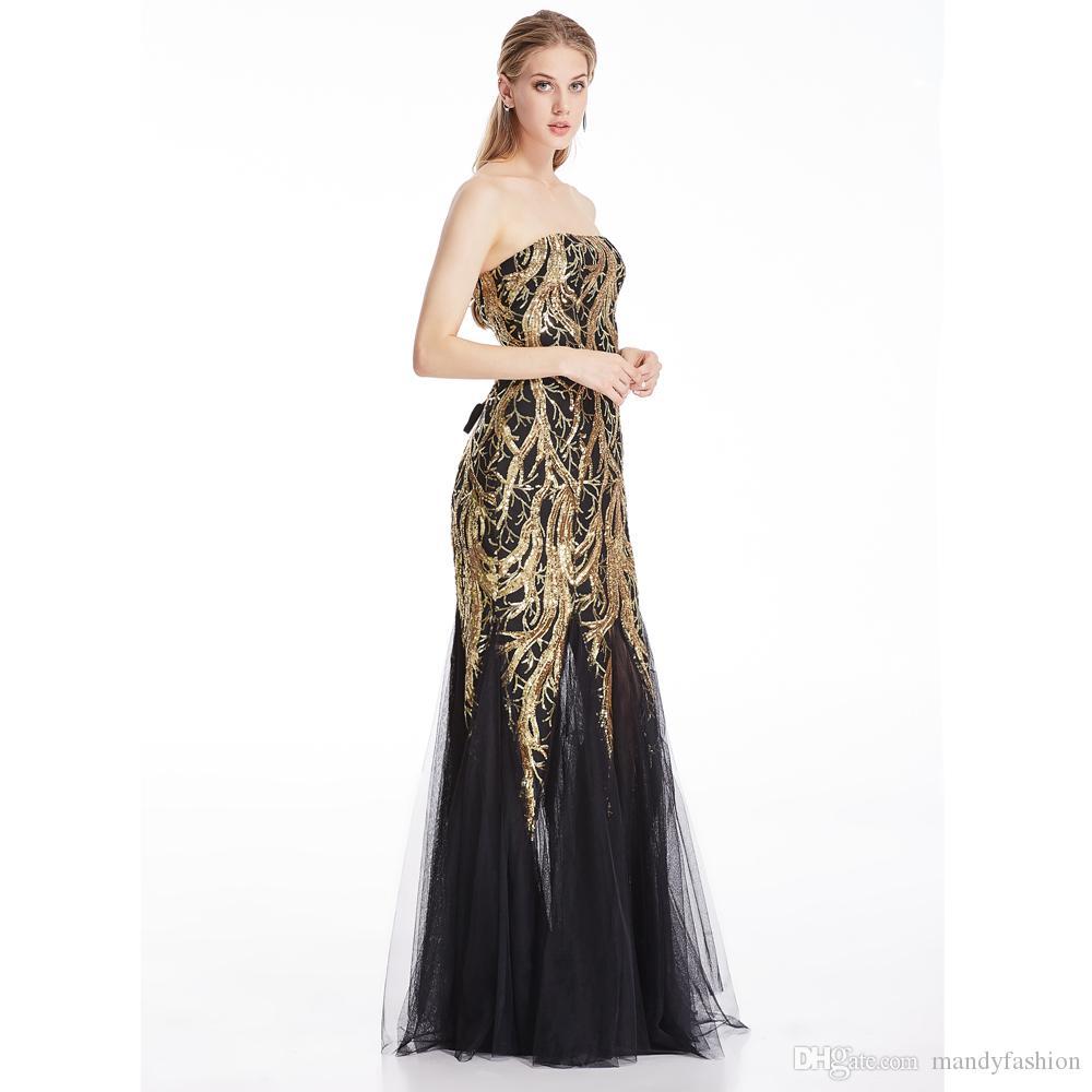 Angel-Fashions Kobiety Bez Ramiączek Sweetheart Cekiny Paillette Tree Branch Tulle Mermaid Suknie Party Bridal Suknie dla kobiet 101