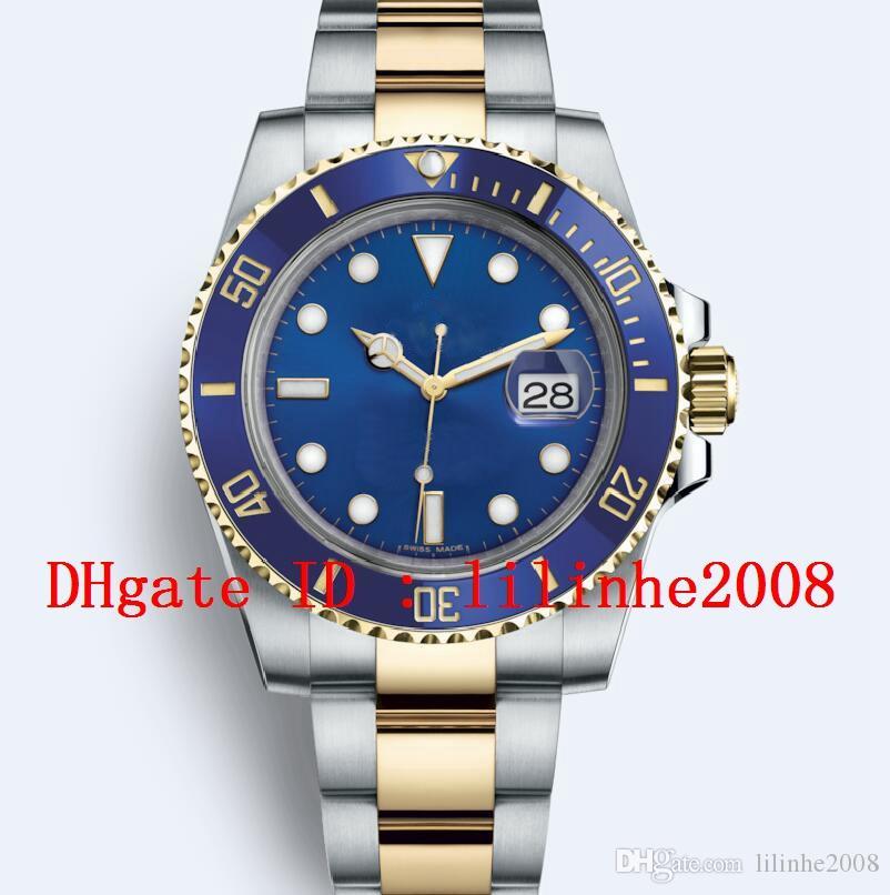 Relógios de pulso de alta qualidade 116613 116610 116618 116613LB 116619LB 114060 ouro amarelo 18K automática máquinas Mergulho relógio Data Mens Relógios