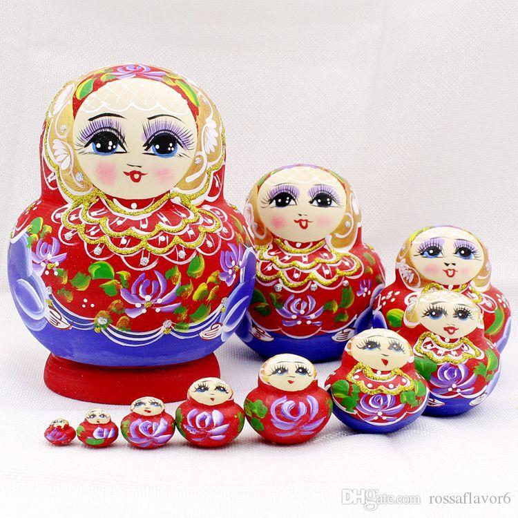 Handmade Russia Doll Nesting 10-layer Beautiful Basswood Matryoshka USA