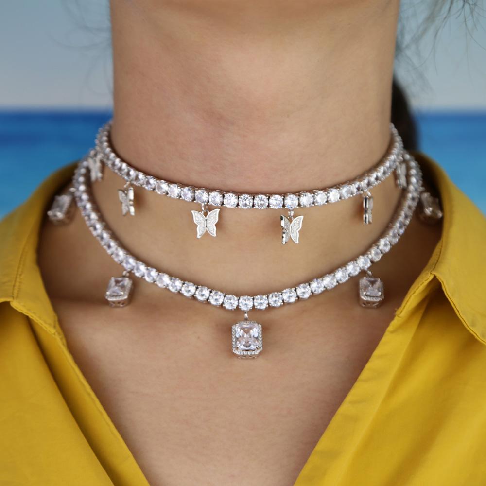 La flecha del corazón de la cadena de la CZ de tenis con el goteo de lujo cz encanto de mariposa 32 + 10 cm collares gargantilla heló hacia fuera la joyería bling mujeres multicapa