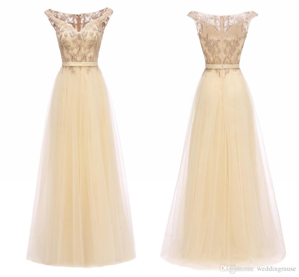 2020 Champagne Bridesmaid Dresses Long