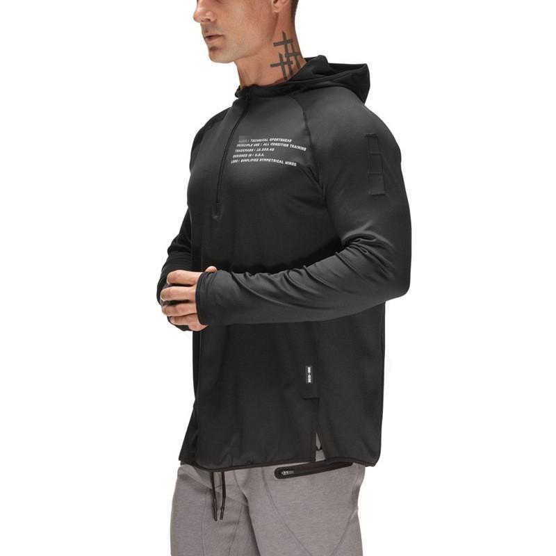 2019 Marca Autunno Inverno Zipper collo in cotone con cappuccio degli uomini della lettera Stampa Pullover Felpe Streetwear di modo maschio con cappuccio V191216