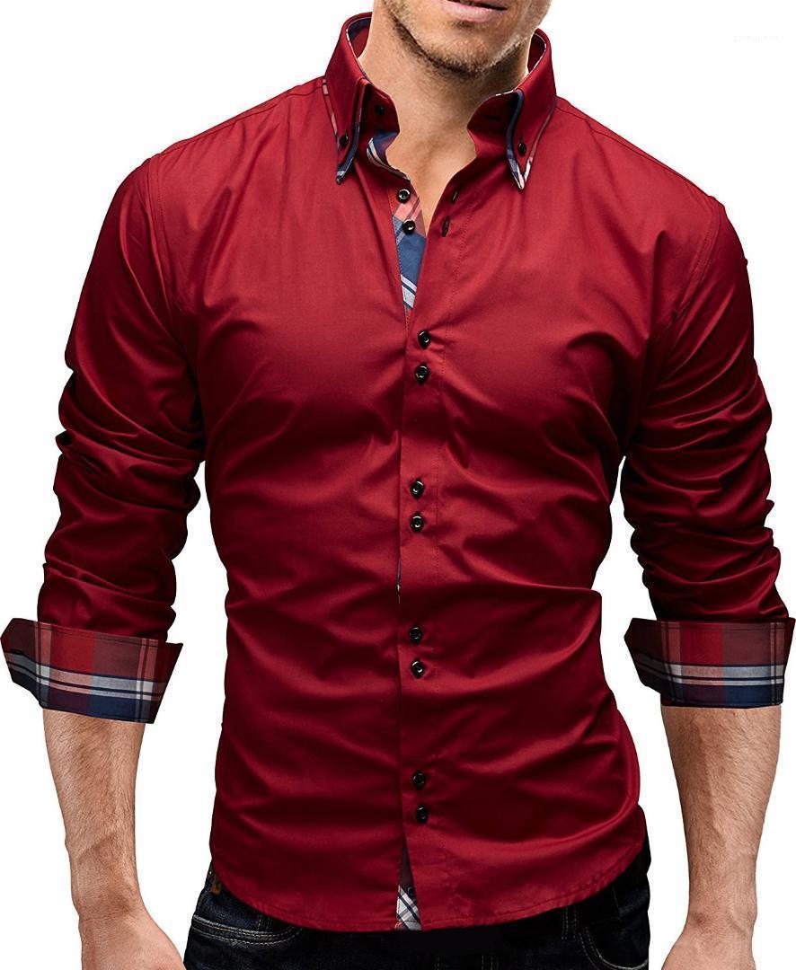 Herbst Luxuxmann Shirts Modedesigner Panelled Herrenkleidung beiläufige dünne lange Hülsen-Jungen-Tops