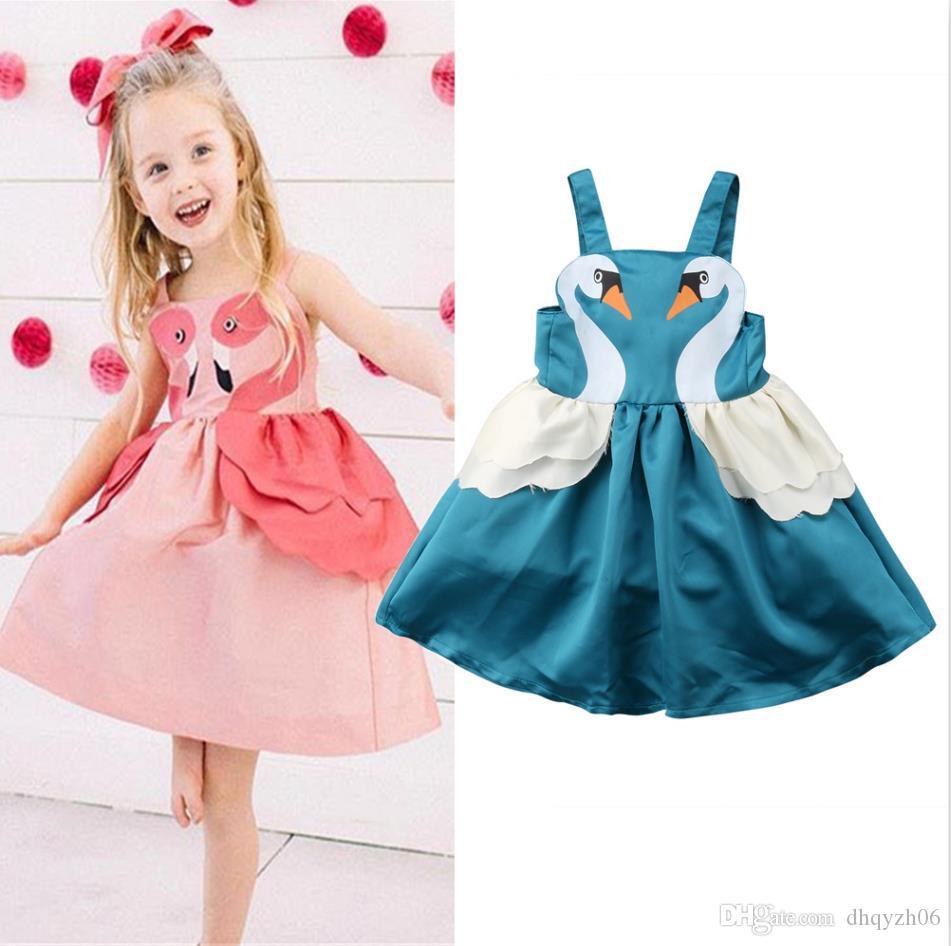 2019 baixo preço de venda explosão de verão vestido de cisne das crianças vestido de meninas vestido de princesa moda doce zipper design rosa frete grátis