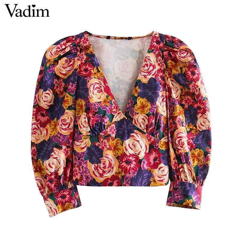 Vadim mulheres chique floral topo padrão de culturas V pescoço manga três quartos blusa curta retro feminino camisas casual tops blusas LB752 Y200402