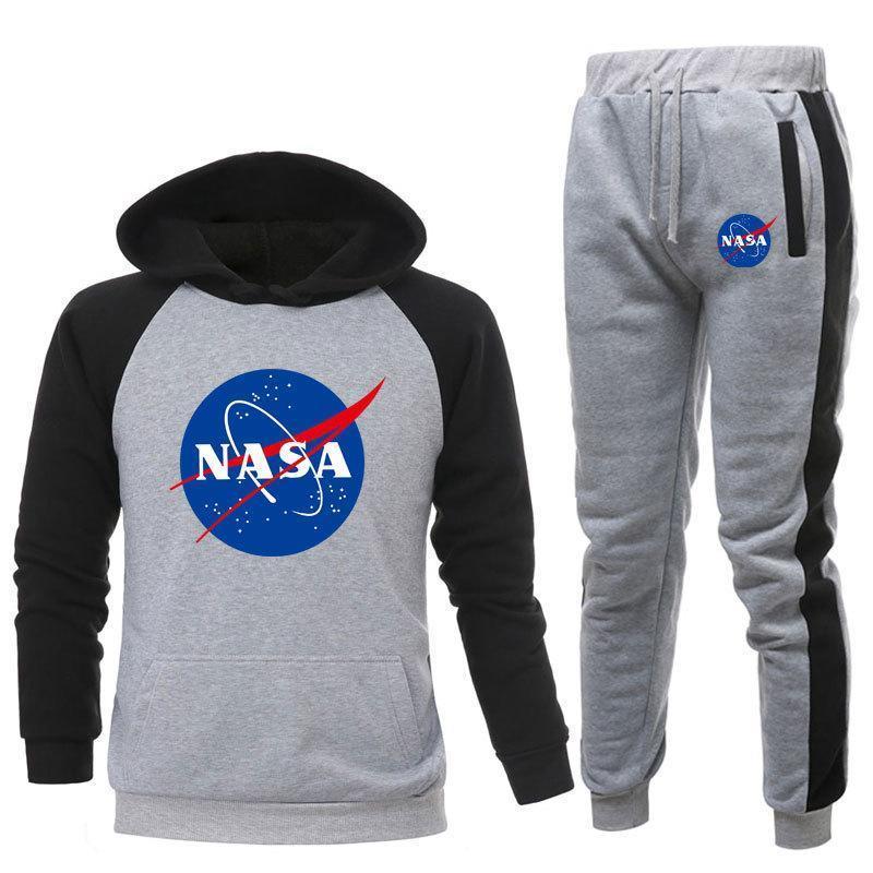 TGCF Herren Damen NASA Hoodie Und Hosen,Unisex NASA Druck Jogginganzug Trainingsanzug Sportanzug Druck Kapuzenpullover und Hosen 2 Sets